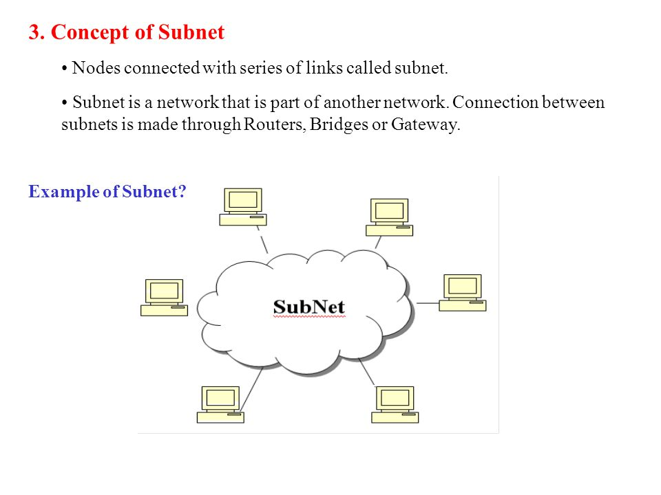 3. Concept of Subnet Nodes connected with series of links called subnet.