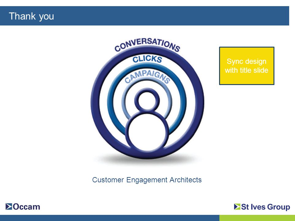 Thank you What How Why Customer Engagement Architects Sync design with title slide