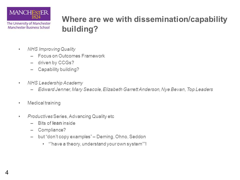 4 Where are we with dissemination/capability building.