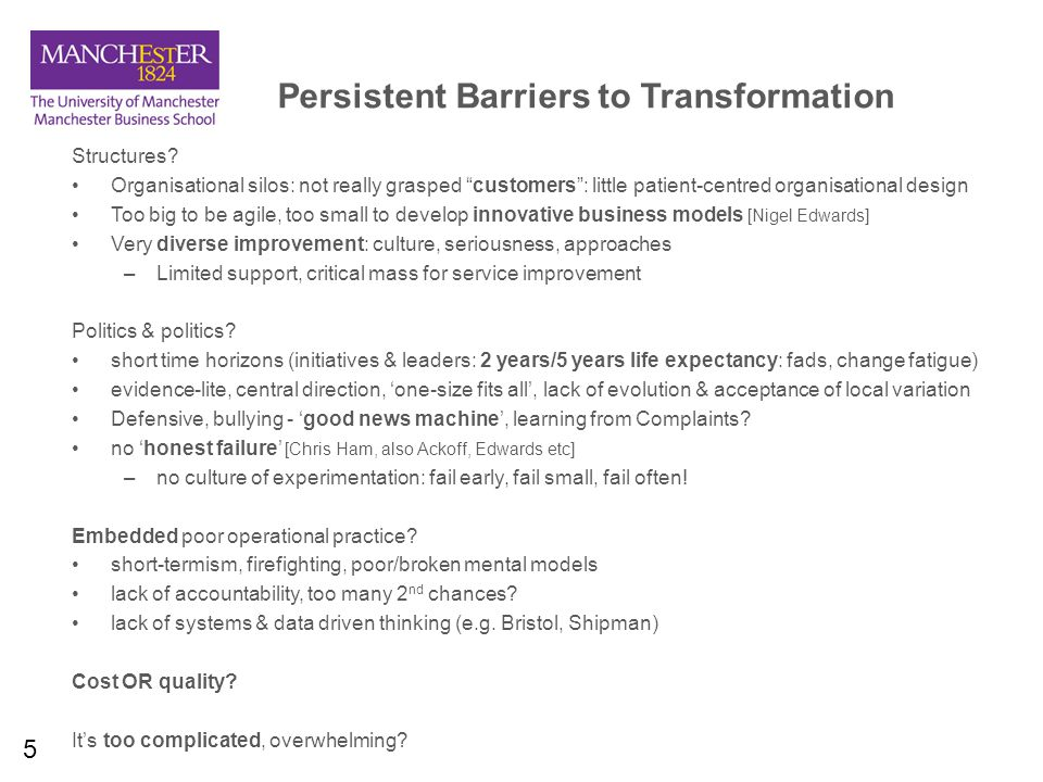 5 Persistent Barriers to Transformation Structures.