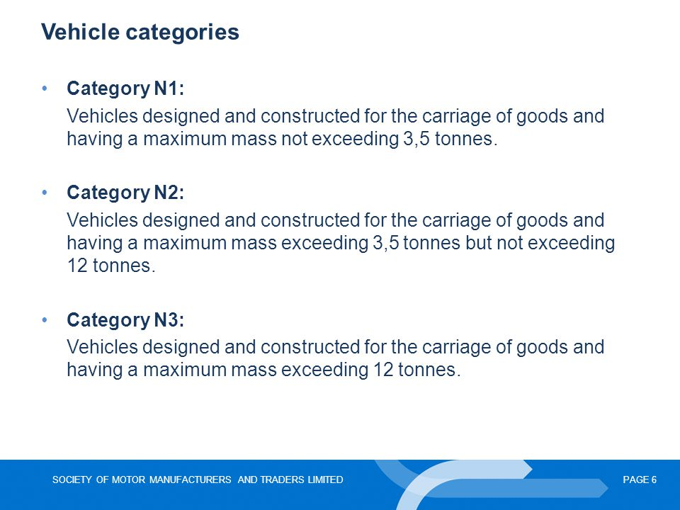 SOCIETY OF MOTOR MANUFACTURERS AND TRADERS LIMITEDPAGE 6 Vehicle categories Category N1: Vehicles designed and constructed for the carriage of goods and having a maximum mass not exceeding 3,5 tonnes.