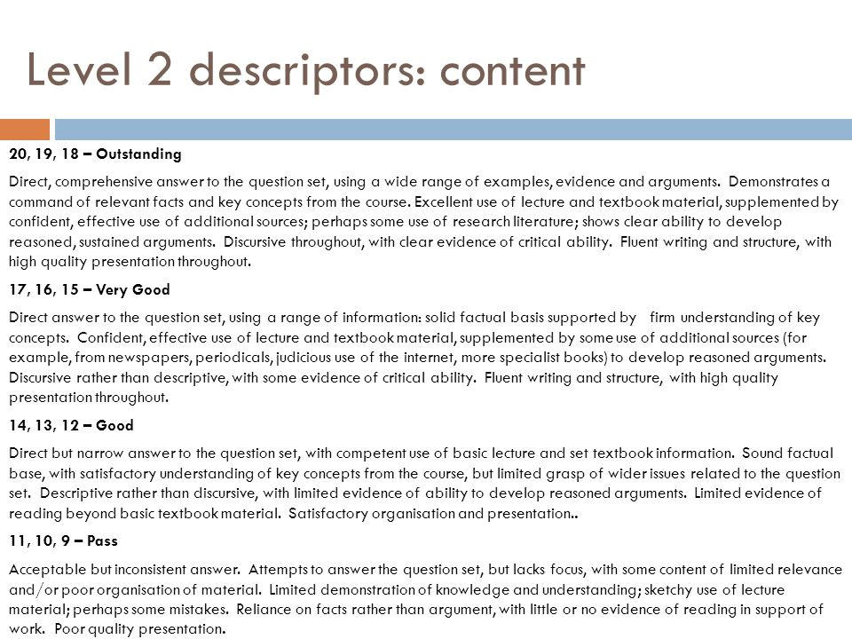 Level 2 descriptors: content 20, 19, 18 – Outstanding Direct, comprehensive answer to the question set, using a wide range of examples, evidence and arguments.
