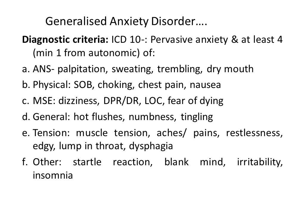 Generalised Anxiety Disorder….
