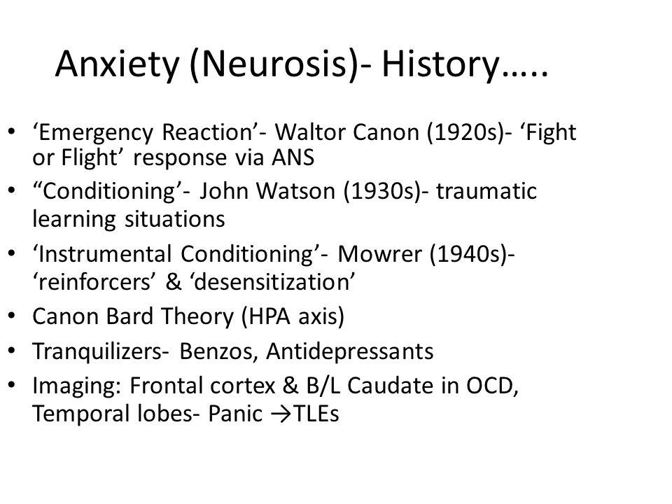 Anxiety (Neurosis)- History…..