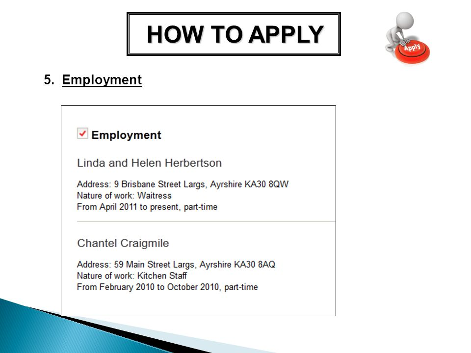 HOW TO APPLY 5. Employment