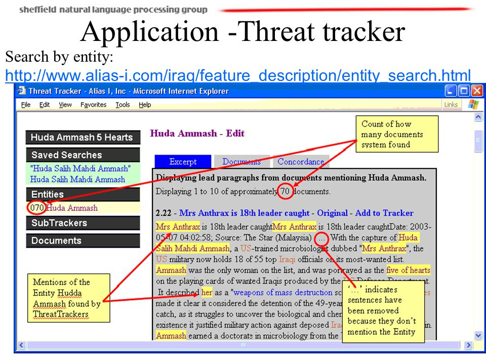 14(110) Application -Threat tracker Search by entity: http://www.alias-i.com/iraq/feature_description/entity_search.html