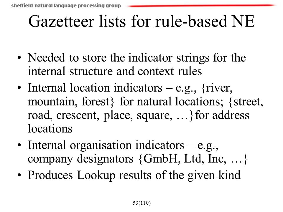 53(110) Gazetteer lists for rule-based NE Needed to store the indicator strings for the internal structure and context rules Internal location indicat
