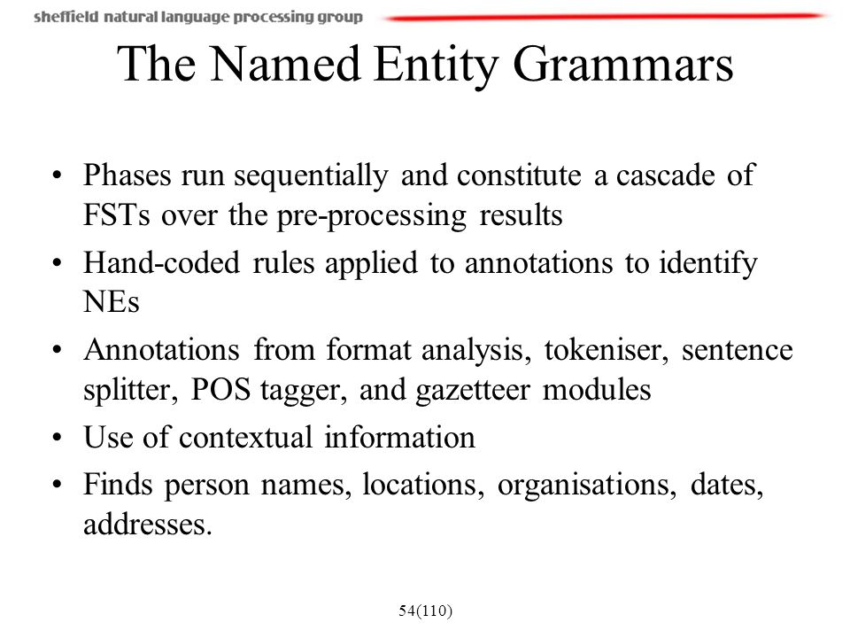 54(110) The Named Entity Grammars Phases run sequentially and constitute a cascade of FSTs over the pre-processing results Hand-coded rules applied to