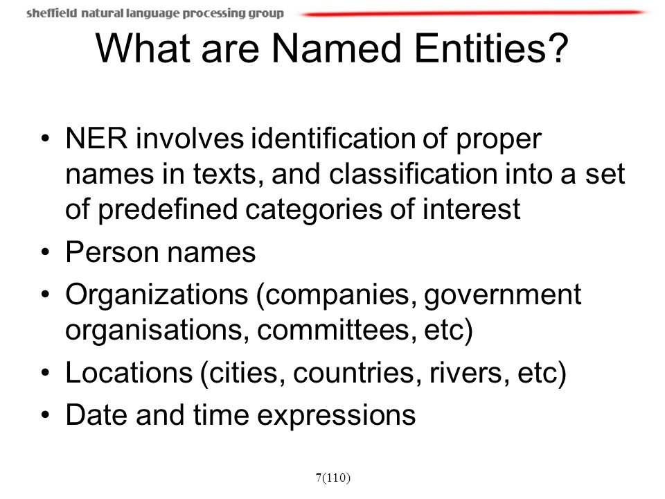 7(110) What are Named Entities? NER involves identification of proper names in texts, and classification into a set of predefined categories of intere