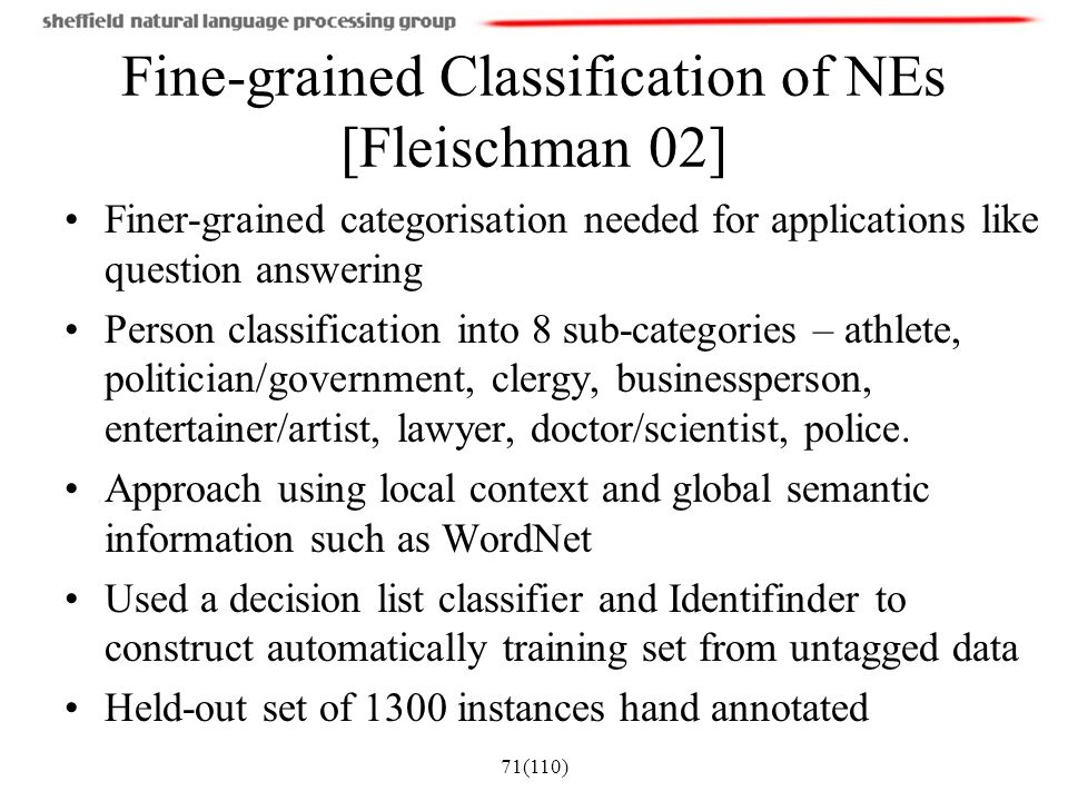 71(110) Fine-grained Classification of NEs [Fleischman 02] Finer-grained categorisation needed for applications like question answering Person classif