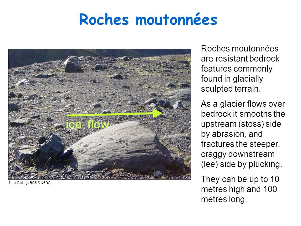 Roches moutonnées Roches moutonn ées are resistant bedrock features commonly found in glacially sculpted terrain.