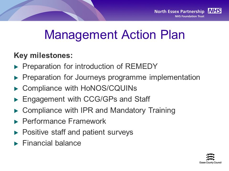 Management Action Plan Key milestones:  Preparation for introduction of REMEDY  Preparation for Journeys programme implementation  Compliance with HoNOS/CQUINs  Engagement with CCG/GPs and Staff  Compliance with IPR and Mandatory Training  Performance Framework  Positive staff and patient surveys  Financial balance