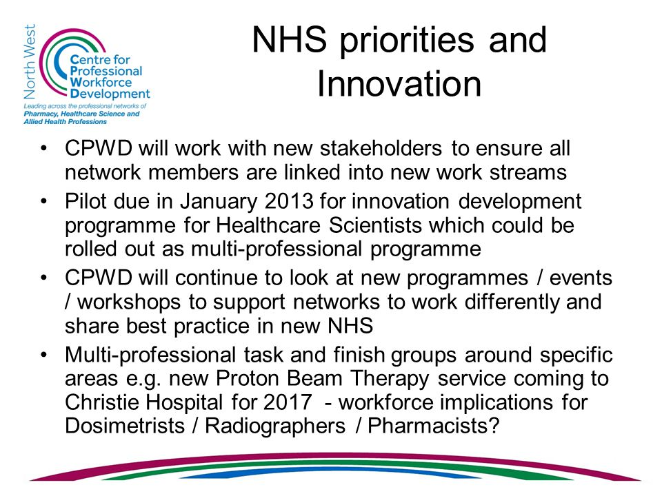 NHS priorities and Innovation CPWD will work with new stakeholders to ensure all network members are linked into new work streams Pilot due in January 2013 for innovation development programme for Healthcare Scientists which could be rolled out as multi-professional programme CPWD will continue to look at new programmes / events / workshops to support networks to work differently and share best practice in new NHS Multi-professional task and finish groups around specific areas e.g.