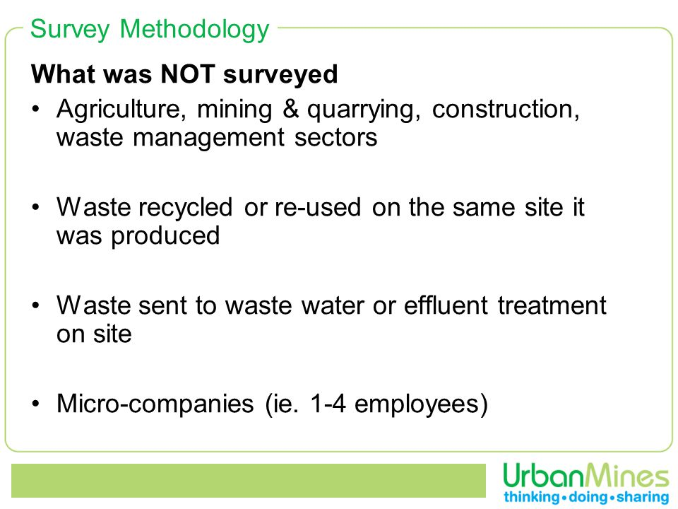 Survey Methodology What was NOT surveyed Agriculture, mining & quarrying, construction, waste management sectors Waste recycled or re-used on the same site it was produced Waste sent to waste water or effluent treatment on site Micro-companies (ie.