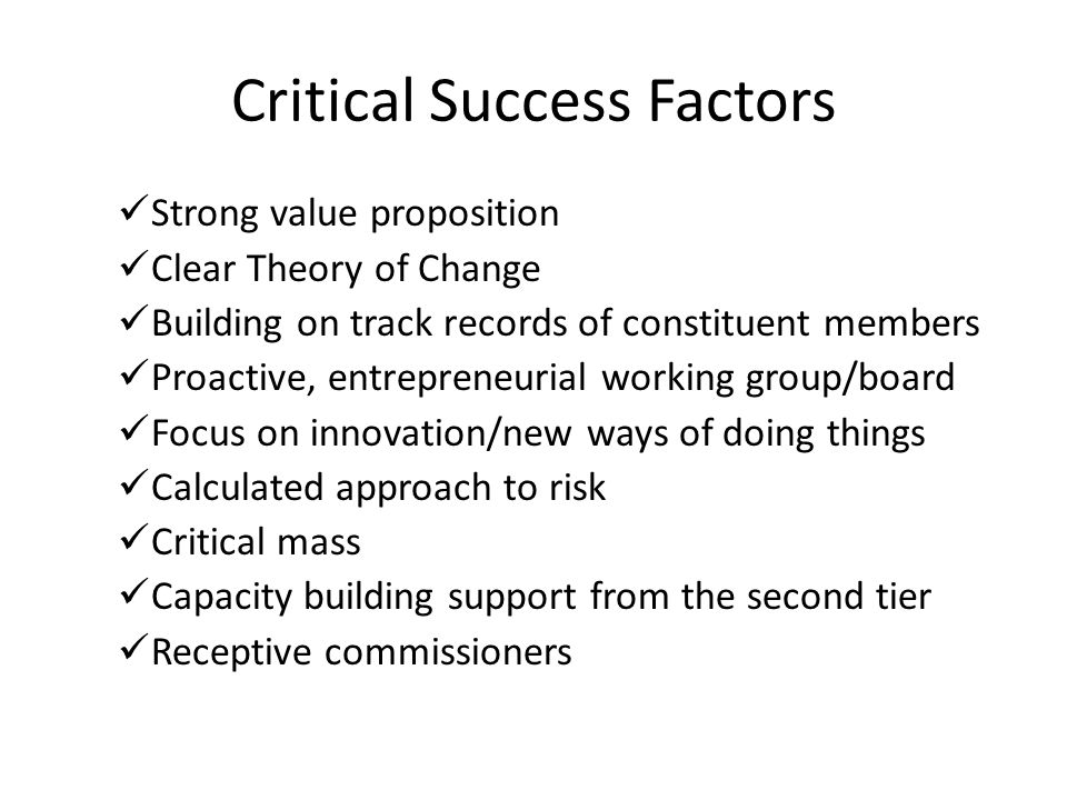 Critical Success Factors Strong value proposition Clear Theory of Change Building on track records of constituent members Proactive, entrepreneurial w