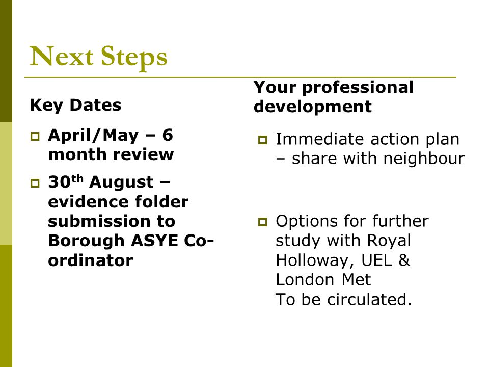 Next Steps Key Dates  April/May – 6 month review  30 th August – evidence folder submission to Borough ASYE Co- ordinator Your professional development  Immediate action plan – share with neighbour  Options for further study with Royal Holloway, UEL & London Met To be circulated.