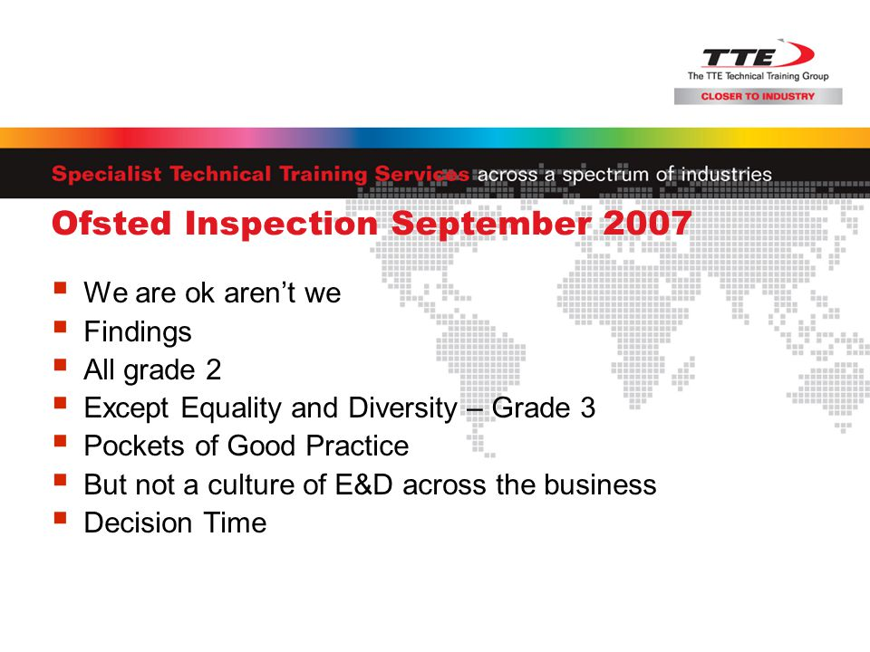 Ofsted Inspection September 2007  We are ok aren't we  Findings  All grade 2  Except Equality and Diversity – Grade 3  Pockets of Good Practice  But not a culture of E&D across the business  Decision Time