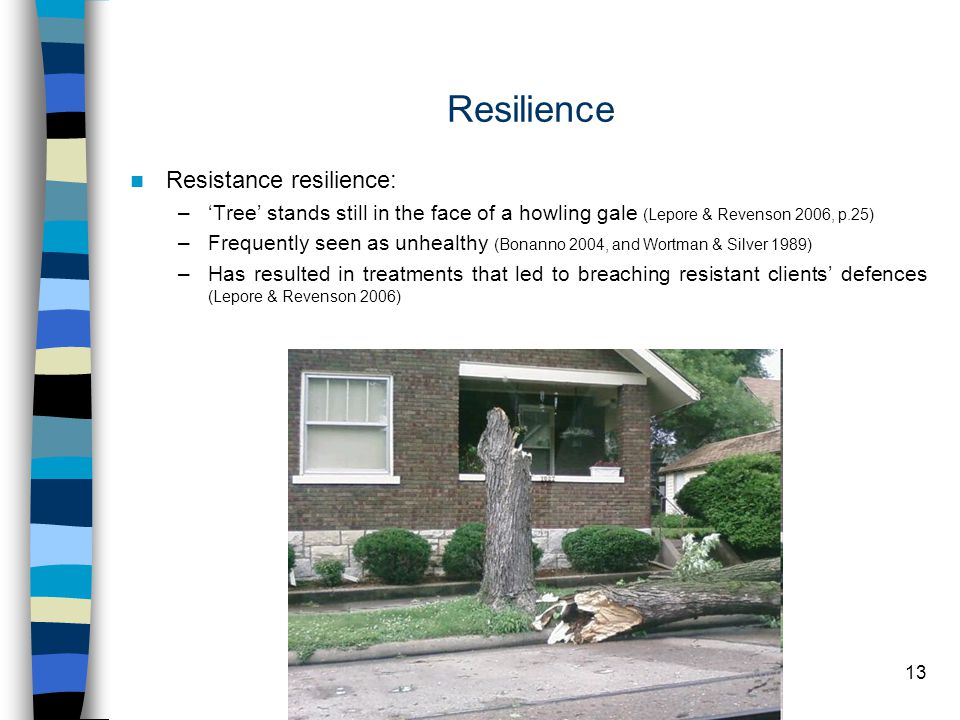 13 Resilience Resistance resilience: –'Tree' stands still in the face of a howling gale (Lepore & Revenson 2006, p.25) –Frequently seen as unhealthy (Bonanno 2004, and Wortman & Silver 1989) –Has resulted in treatments that led to breaching resistant clients' defences (Lepore & Revenson 2006)