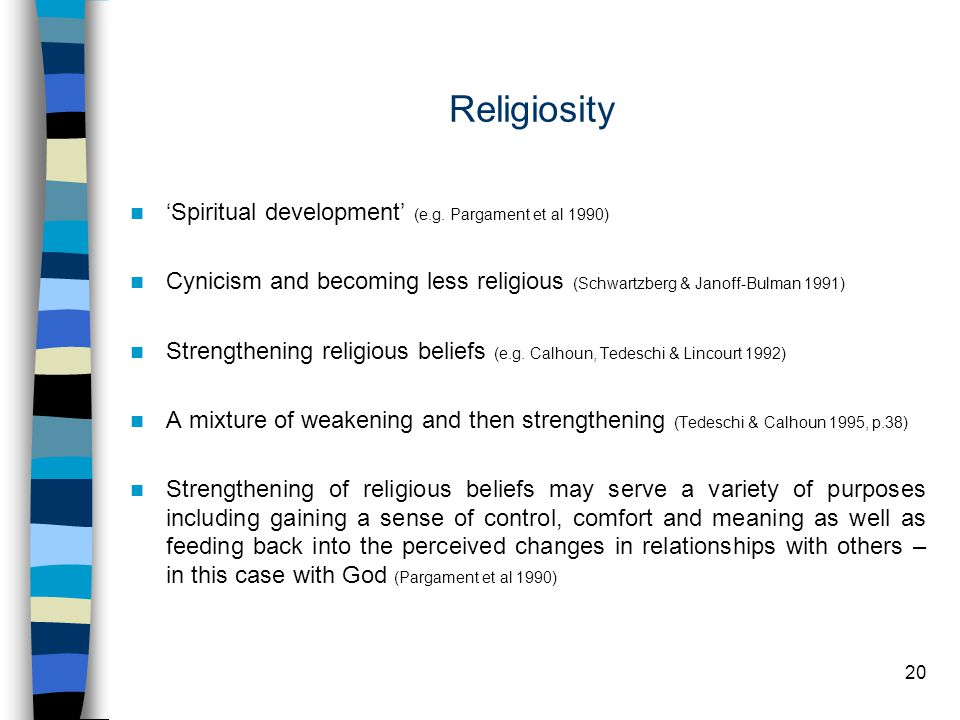 20 Religiosity 'Spiritual development' (e.g.