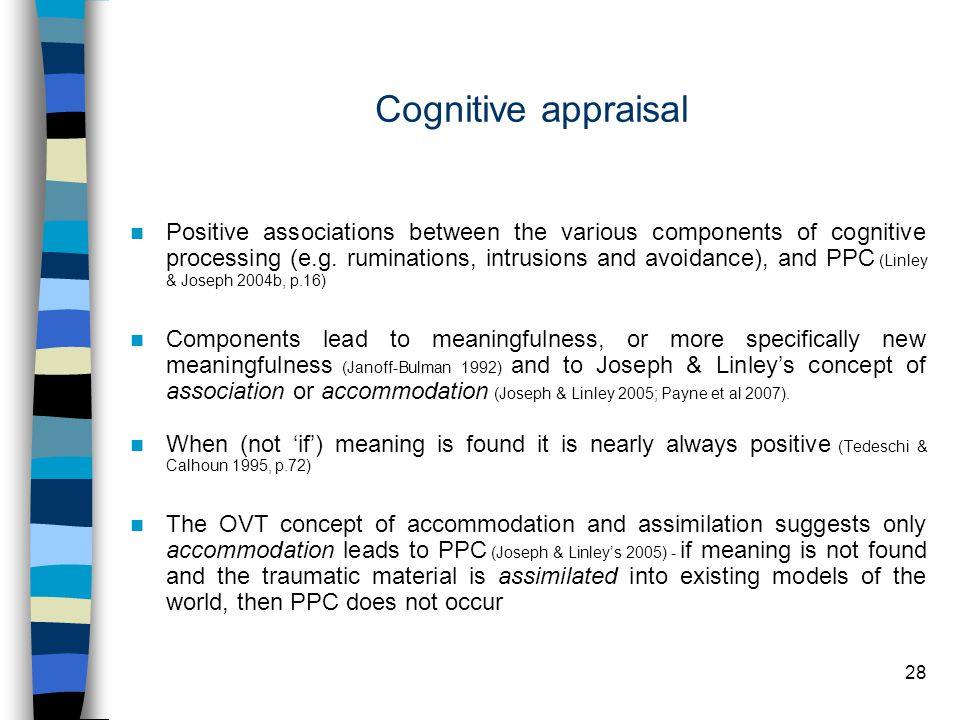 28 Cognitive appraisal Positive associations between the various components of cognitive processing (e.g.