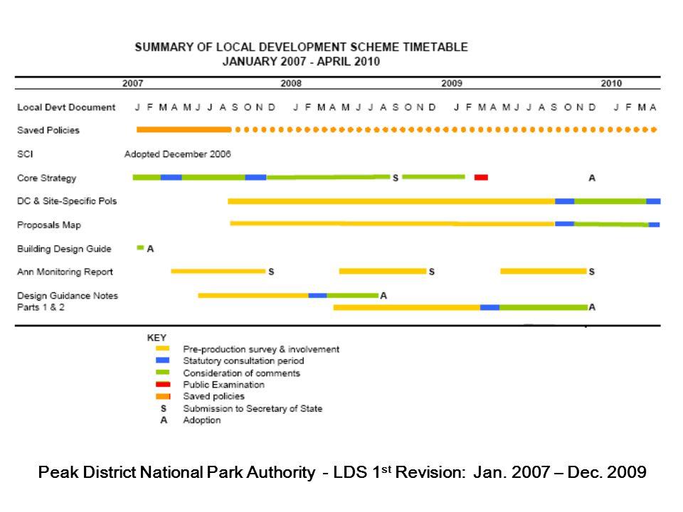 Peak District National Park Authority - LDS 1 st Revision: Jan. 2007 – Dec. 2009