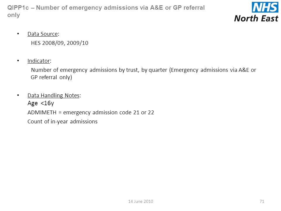 QIPP1c – Number of emergency admissions via A&E or GP referral only Data Source: HES 2008/09, 2009/10 Indicator: Number of emergency admissions by trust, by quarter (Emergency admissions via A&E or GP referral only) Data Handling Notes: Age <16y ADMIMETH = emergency admission code 21 or 22 Count of in-year admissions 7114 June 2010
