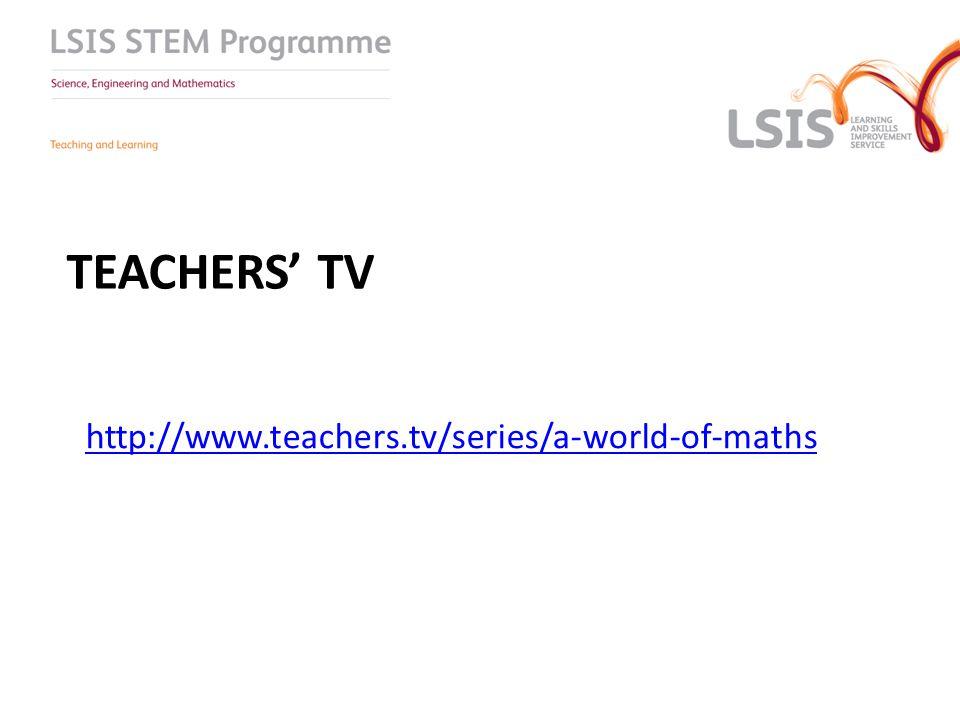 TEACHERS' TV http://www.teachers.tv/series/a-world-of-maths