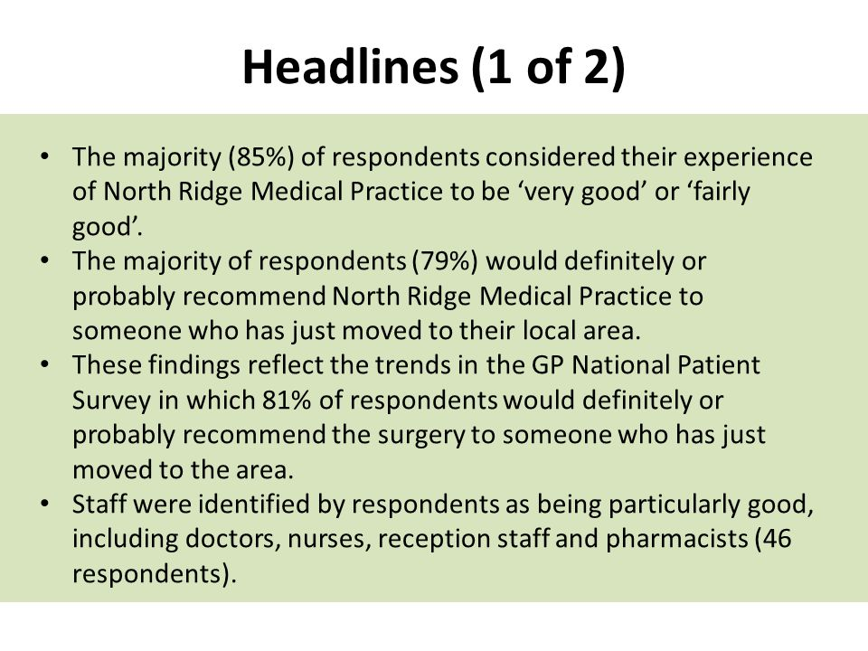 Headlines (1 of 2) The majority (85%) of respondents considered their experience of North Ridge Medical Practice to be 'very good' or 'fairly good'.
