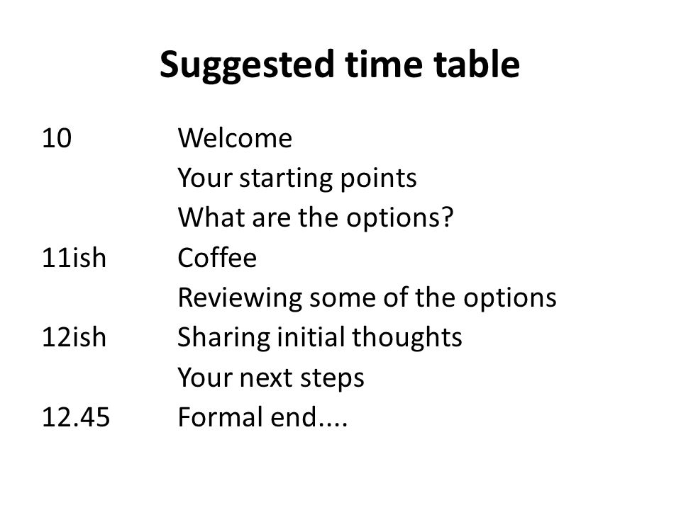 Suggested time table 10 Welcome Your starting points What are the options.