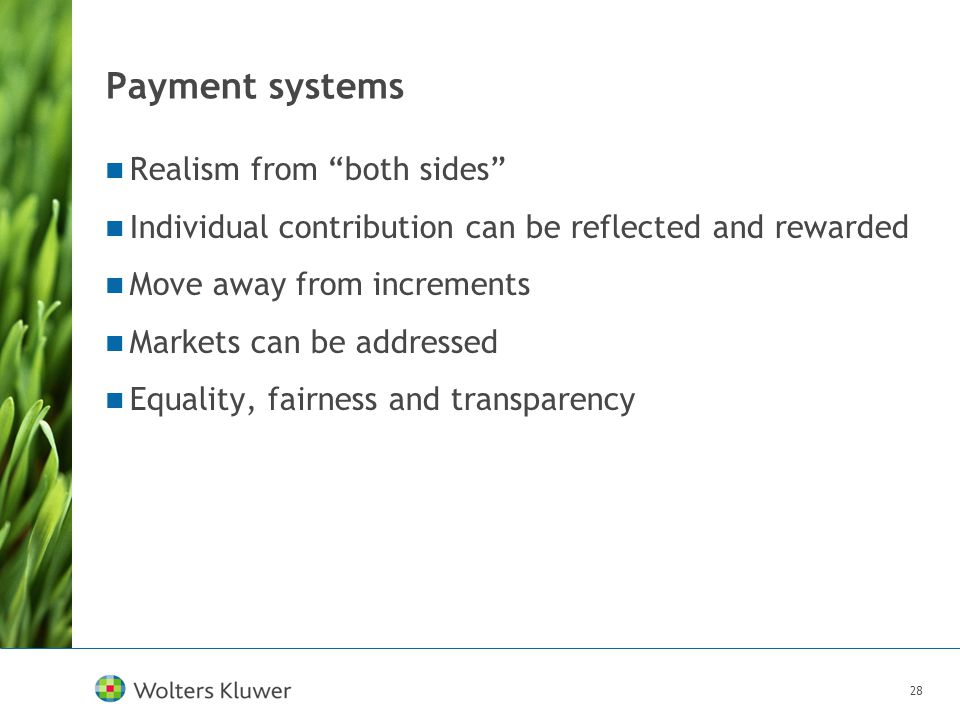 "28 Payment systems Realism from ""both sides"" Individual contribution can be reflected and rewarded Move away from increments Markets can be addressed"