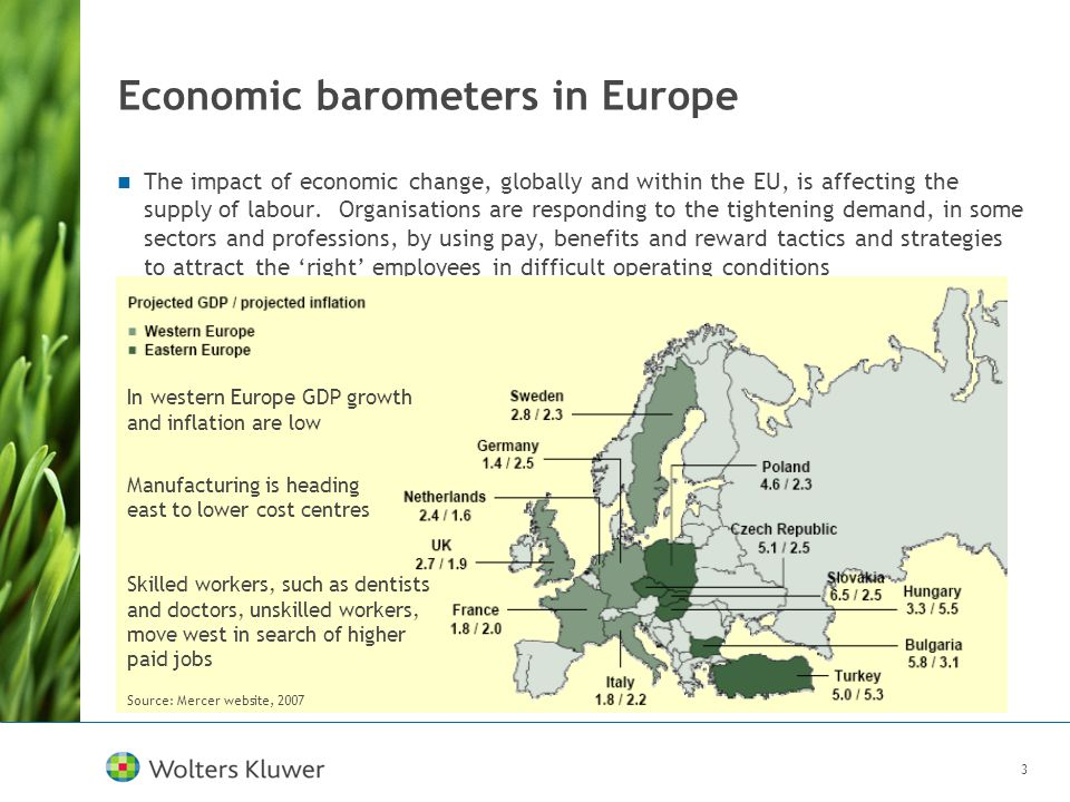 3 Economic barometers in Europe The impact of economic change, globally and within the EU, is affecting the supply of labour. Organisations are respon