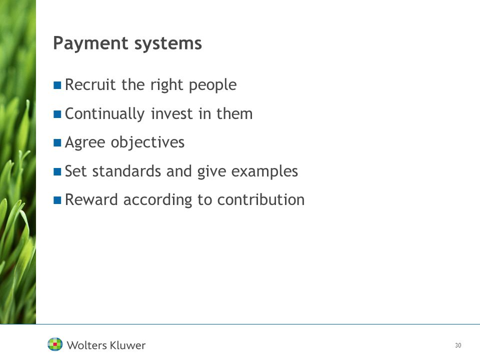 30 Payment systems Recruit the right people Continually invest in them Agree objectives Set standards and give examples Reward according to contributi
