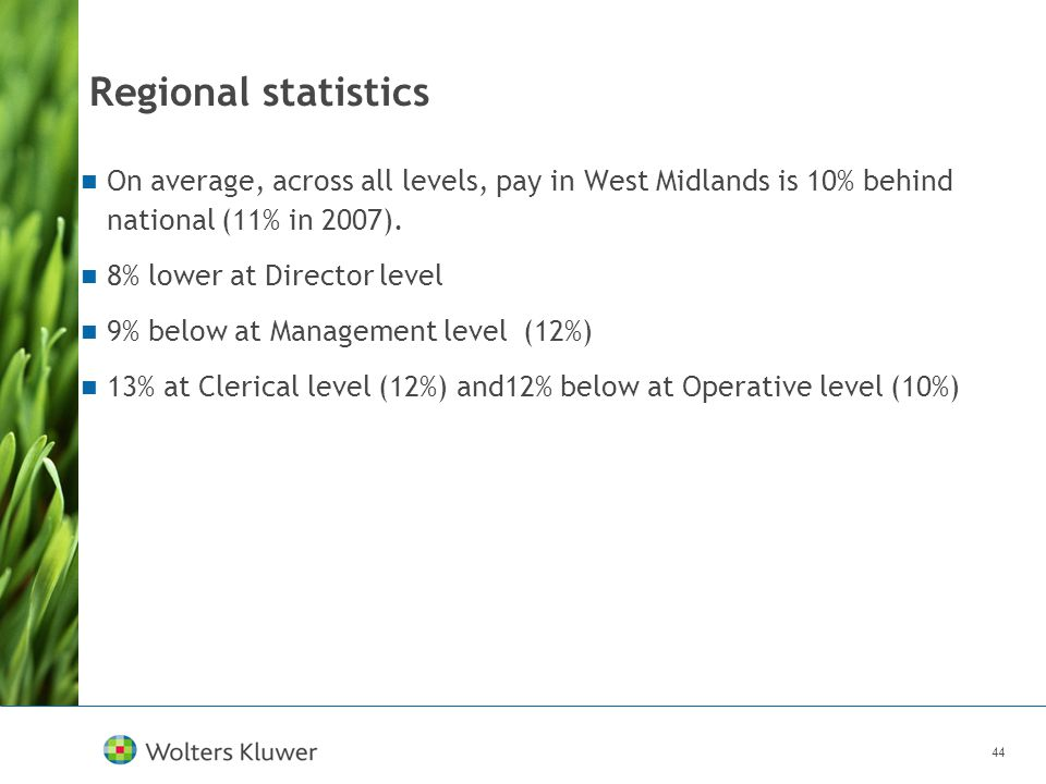 44 Regional statistics On average, across all levels, pay in West Midlands is 10% behind national (11% in 2007). 8% lower at Director level 9% below a