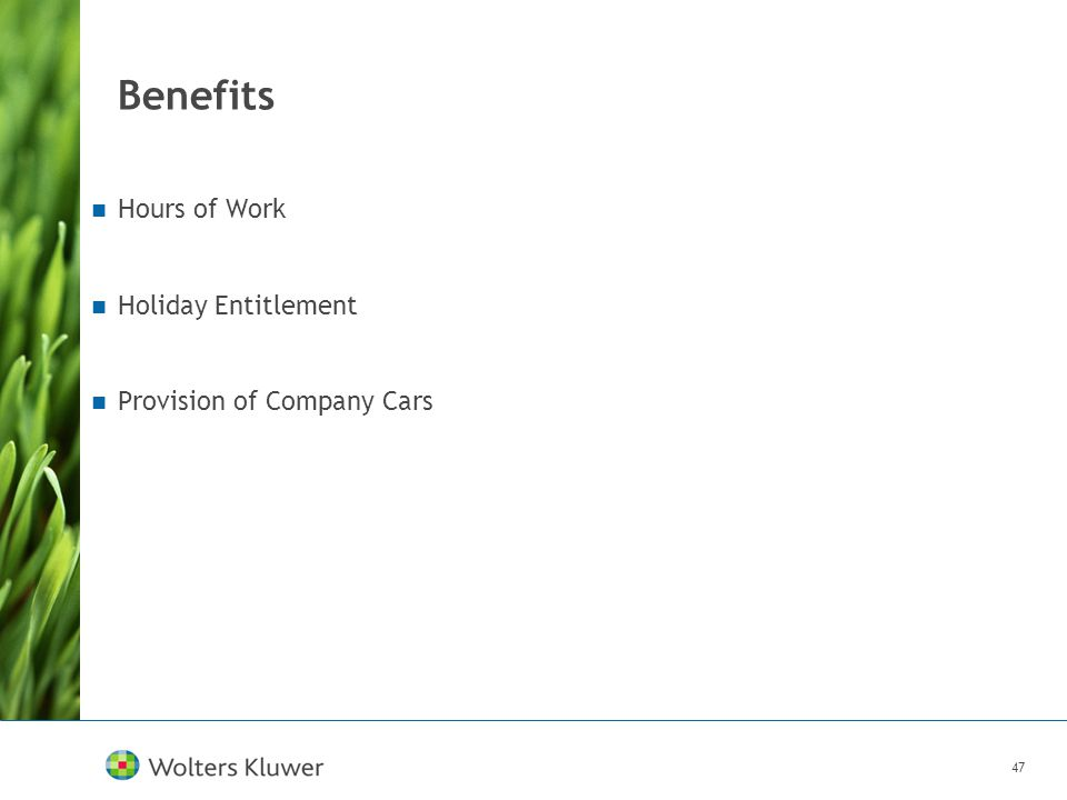 47 Benefits Hours of Work Holiday Entitlement Provision of Company Cars