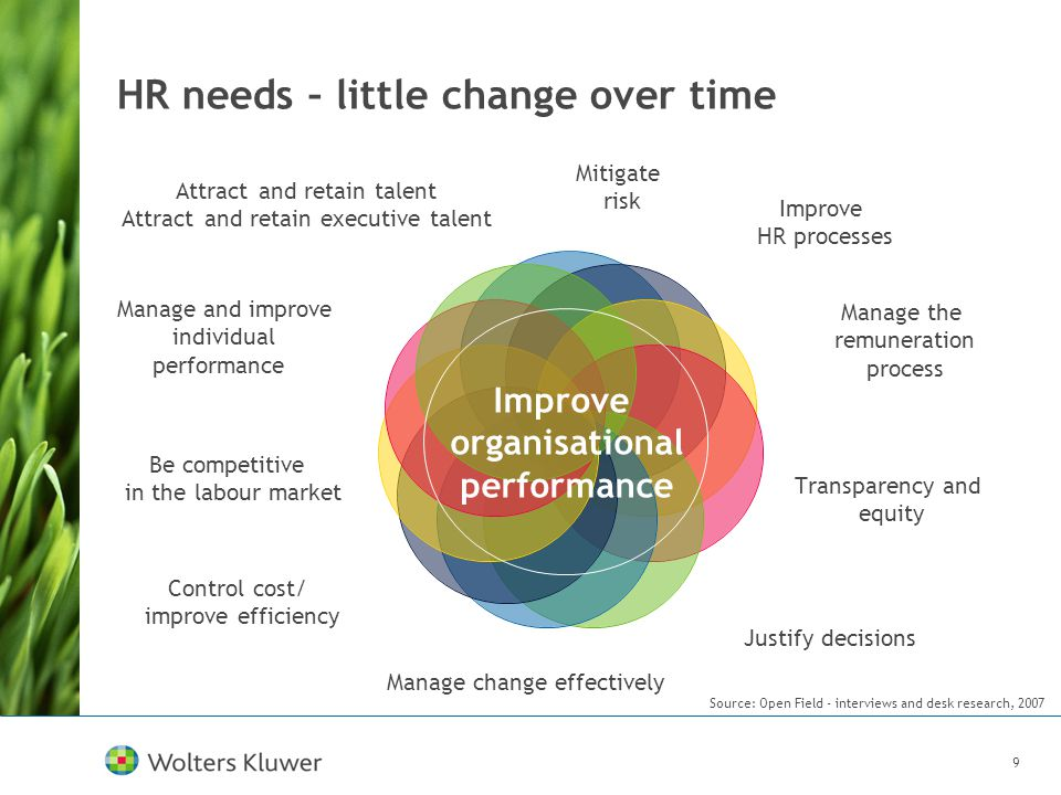 9 HR needs – little change over time Improve organisational performance Source: Open Field - interviews and desk research, 2007