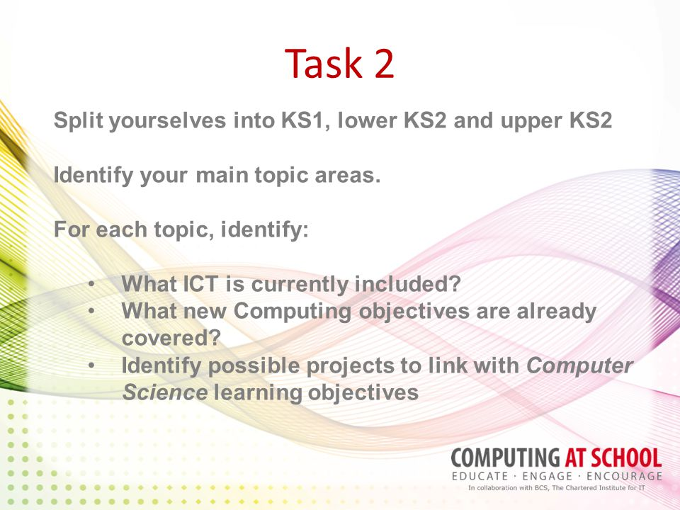 Task 2 Split yourselves into KS1, lower KS2 and upper KS2 Identify your main topic areas.