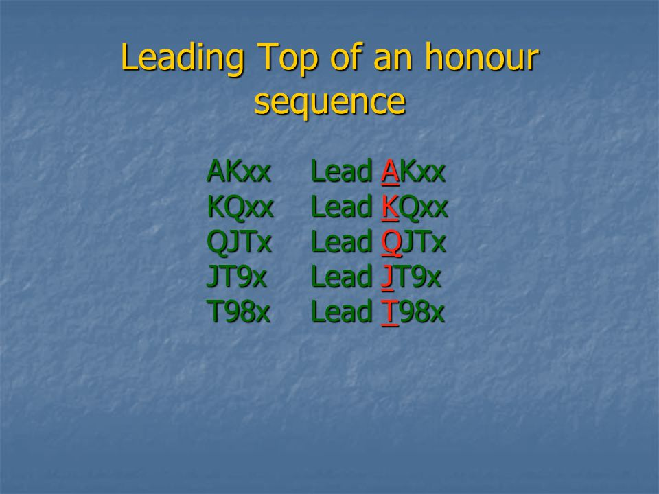 Leading Top of an honour sequence AKxxKQxxQJTxJT9xT98x Lead AKxx Lead KQxx Lead QJTx Lead JT9x Lead T98x