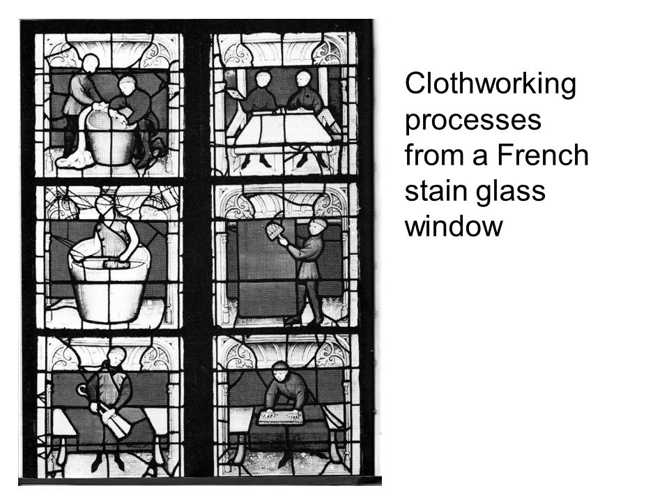 Clothworking processes from a French stain glass window