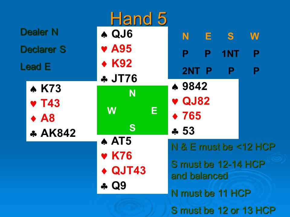 Hand 5  K73 T43  A8  AK842  QJ6 A95  K92  JT76  AT5 K76  QJT43  Q9  9842 QJ82  765  53 N W E S N E S W P P 1NT P 2NT P P P N & E must be <12 HCP S must be 12-14 HCP and balanced N must be 11 HCP S must be 12 or 13 HCP Dealer N Declarer S Lead E