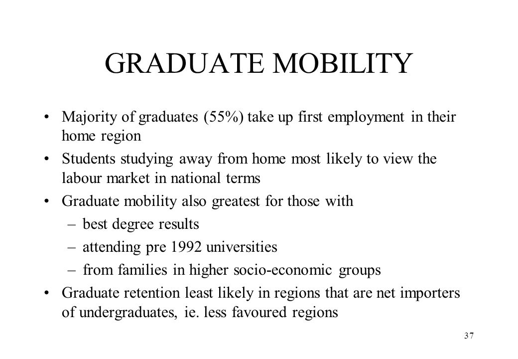 37 GRADUATE MOBILITY Majority of graduates (55%) take up first employment in their home region Students studying away from home most likely to view th