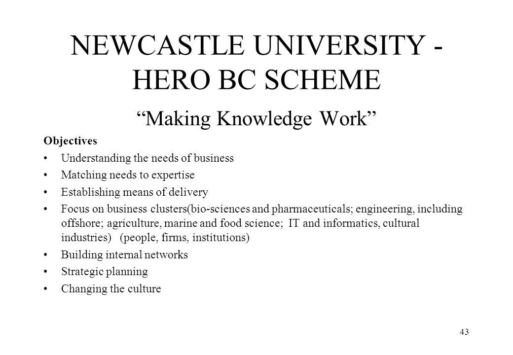 "43 NEWCASTLE UNIVERSITY - HERO BC SCHEME ""Making Knowledge Work"" Objectives Understanding the needs of business Matching needs to expertise Establishi"