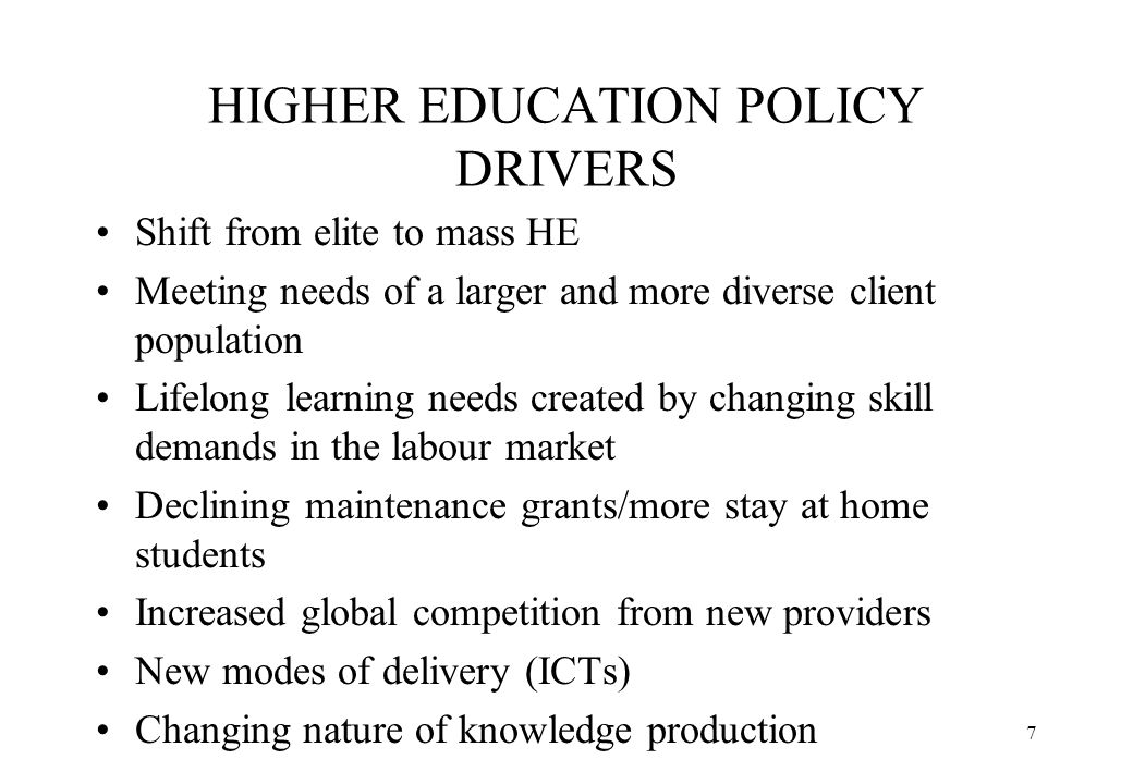 8 ECONOMIC DRIVERS (1) Globalisation and localisation of the economy and declining regulatory capacity of the nation state Corporate decentralisation and growing importance of local production environment New local/regional clients for research and graduates Demand for work based learning and tacit skills