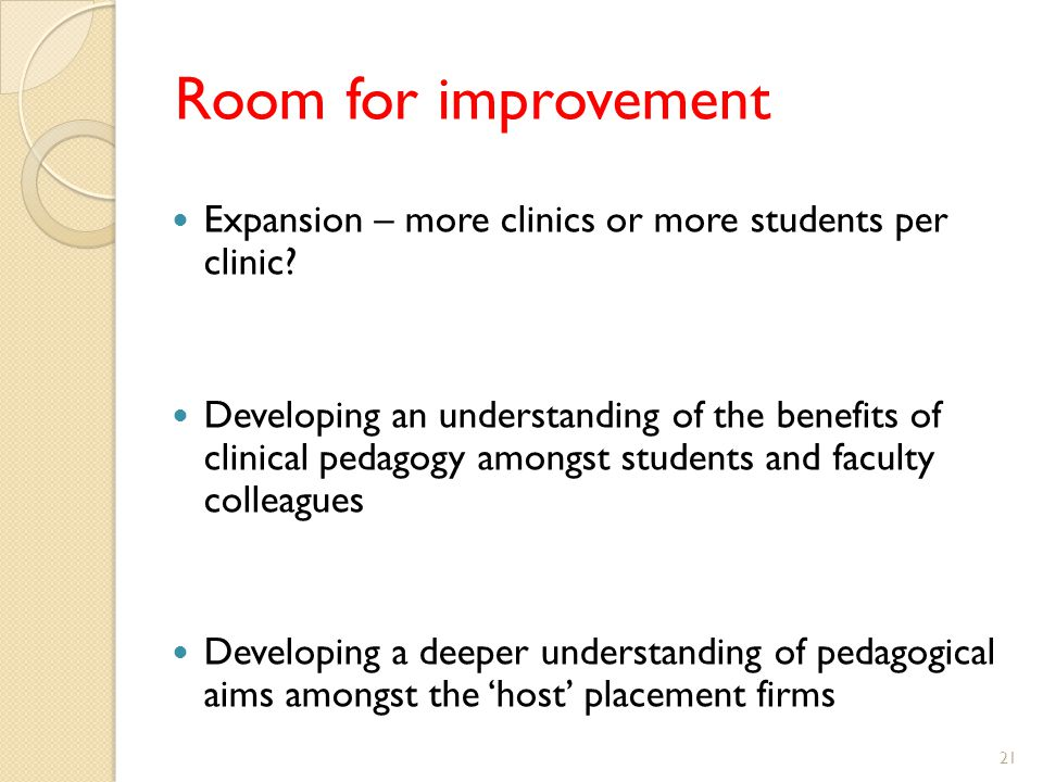 Room for improvement Expansion – more clinics or more students per clinic.