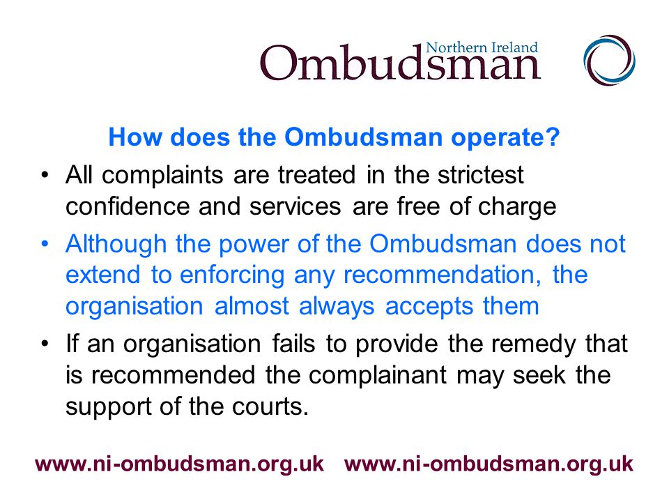 How does the Ombudsman operate.