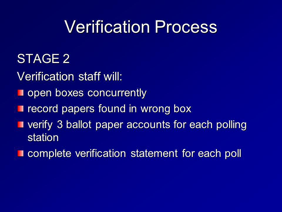 Verification Process STAGE 2 Verification staff will: open boxes concurrently record papers found in wrong box verify 3 ballot paper accounts for each polling station complete verification statement for each poll