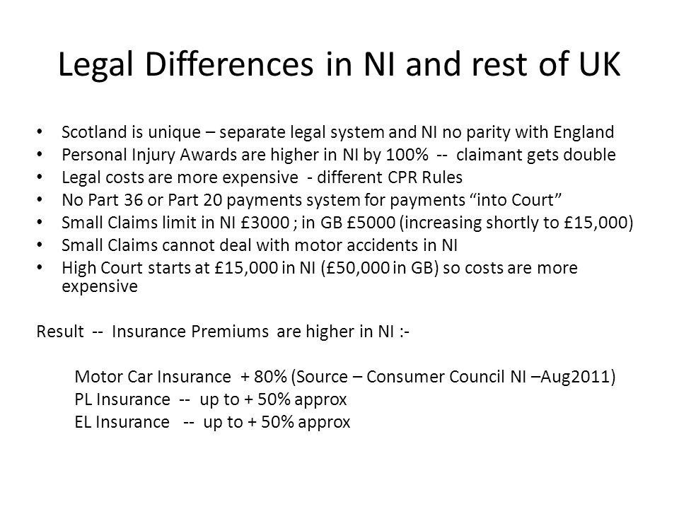 Legal Differences in NI and rest of UK Scotland is unique – separate legal system and NI no parity with England Personal Injury Awards are higher in NI by 100% -- claimant gets double Legal costs are more expensive - different CPR Rules No Part 36 or Part 20 payments system for payments into Court Small Claims limit in NI £3000 ; in GB £5000 (increasing shortly to £15,000) Small Claims cannot deal with motor accidents in NI High Court starts at £15,000 in NI (£50,000 in GB) so costs are more expensive Result -- Insurance Premiums are higher in NI :- Motor Car Insurance + 80% (Source – Consumer Council NI –Aug2011) PL Insurance -- up to + 50% approx EL Insurance -- up to + 50% approx