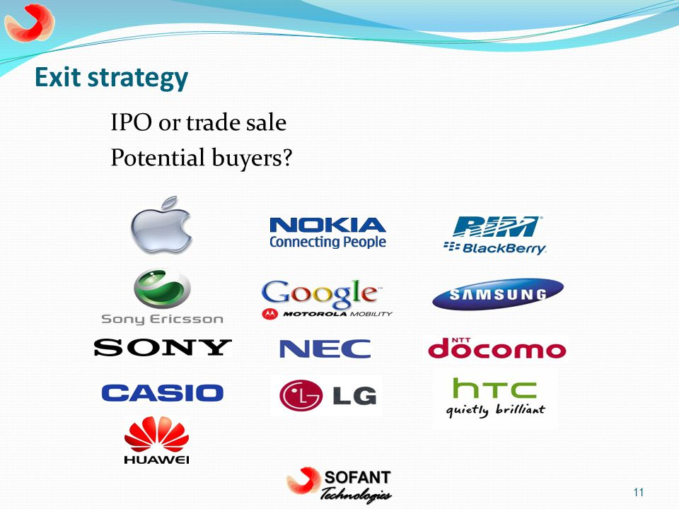 Exit strategy IPO or trade sale Potential buyers 11