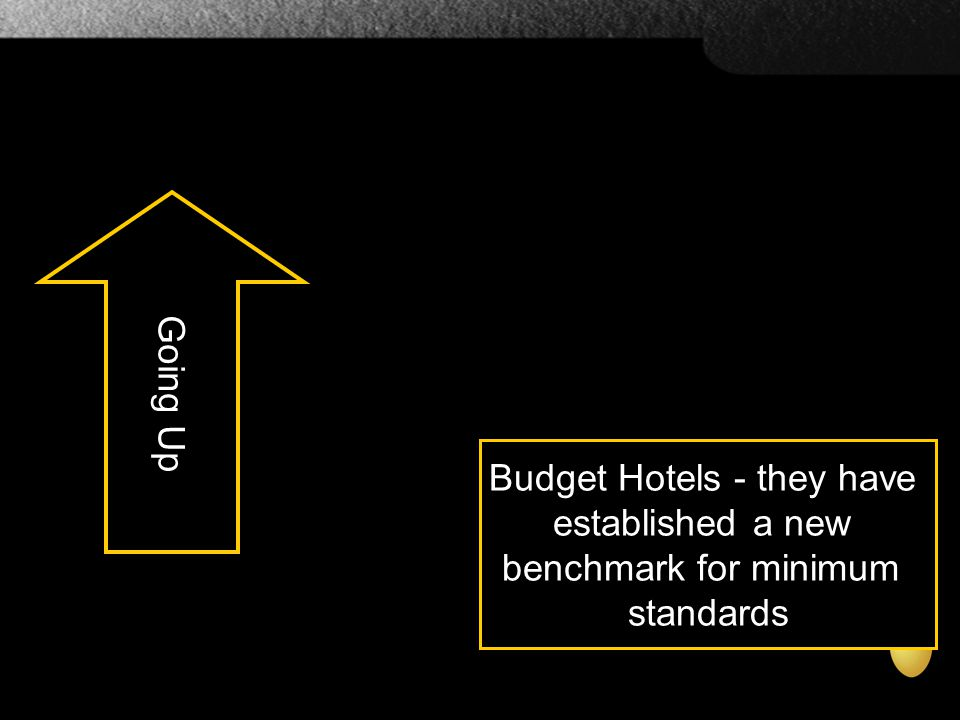 Budget Hotels - they have established a new benchmark for minimum standards