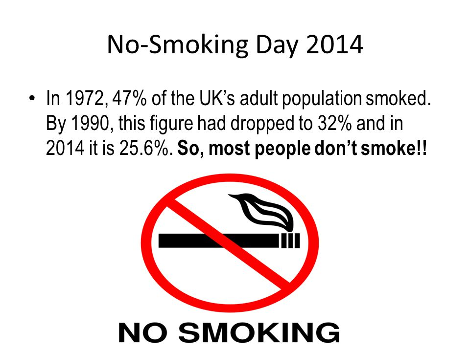 No-Smoking Day 2014 Smoking whilst pregnant increases the risk of Miscarriage Complications during pregnancy Low birth weight Premature births Birth defects like cleft palate Still born or early death of baby Poorer mental and physical development of the baby