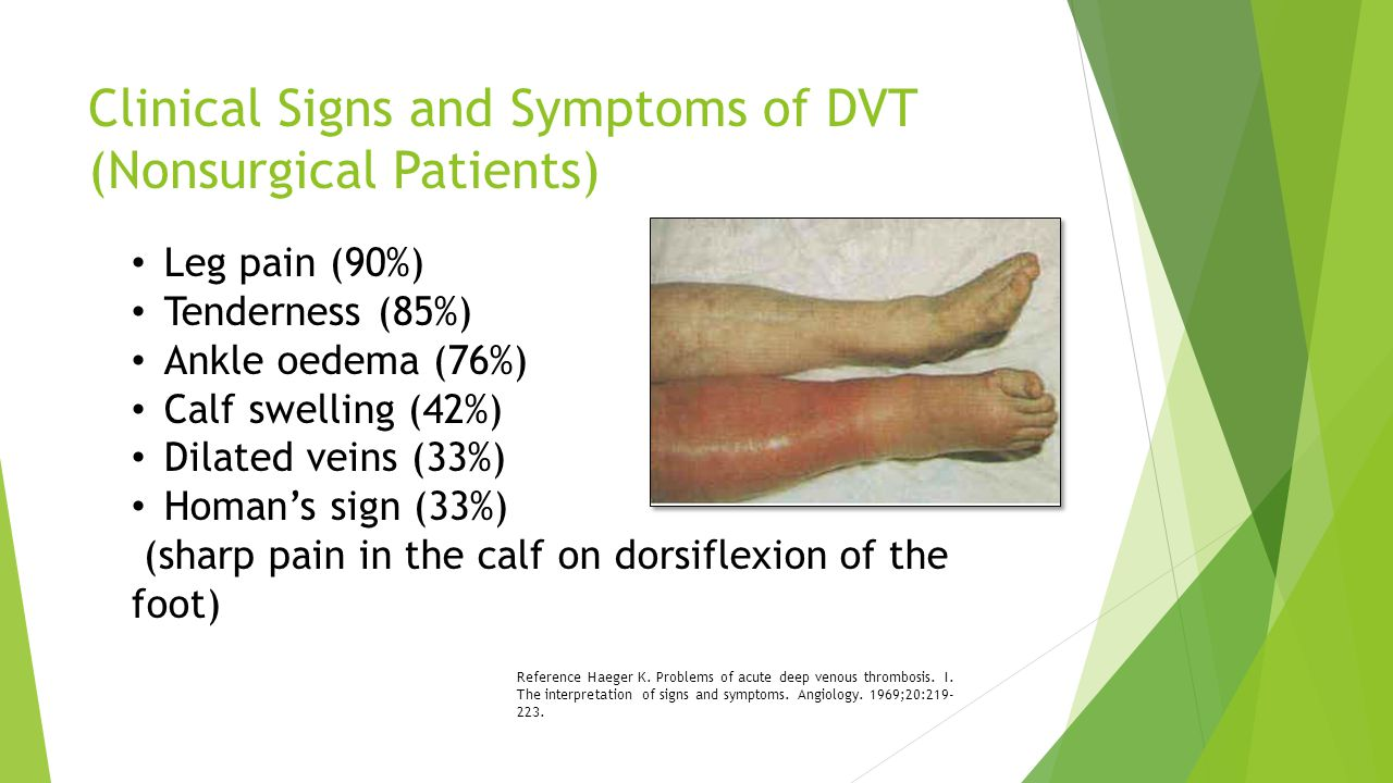 Clinical Signs and Symptoms of DVT (cont'd) DVT cannot be reliably diagnosed on the basis of history and physical exam, even in high-risk patients.